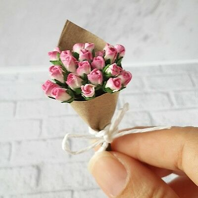 Handmade Bouquet Mulberry Paper Pink Rose Flowers Miniature Valentines Gifts New