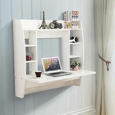 White Floating Wall Mounted Office Computer Desk Home Office Table with Storage