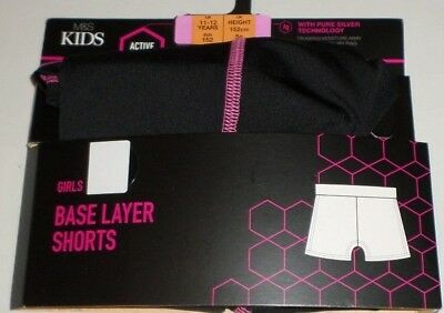 Girls Base Layer Shorts New M&S Kids Active Sport Black Pink Trim
