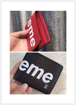 New SUPREME classic red wallet Portemonnaie Wallet Poket Card Holder neu