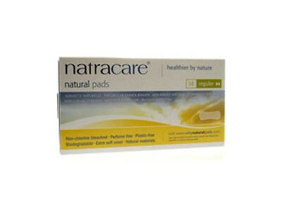 Natural Pads Curved Regular, Natracare, 14 piece