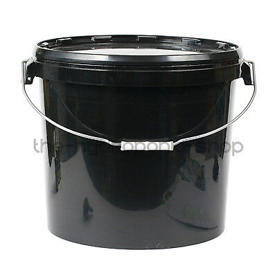 Black Plastic All Sizes Storage Bucket With Lid Hydroponics (2 Pack)