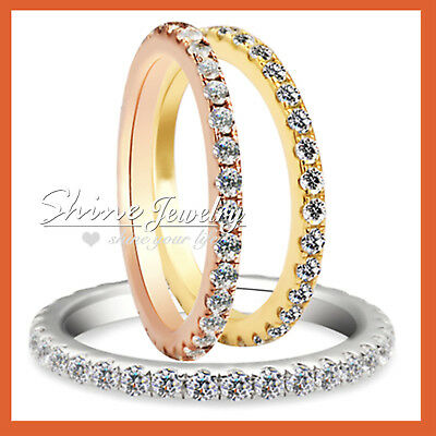 18K Gold Gf Ct Signity Diamond Anniversary Engagement Wedding Eternity Band Ring