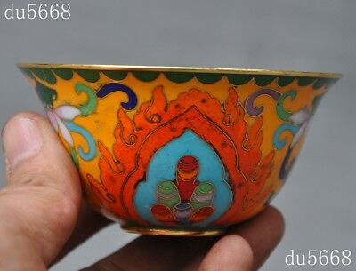 old Chinese antique palace dynasty bronze Cloisonne lotus fish goldfish cup bowl