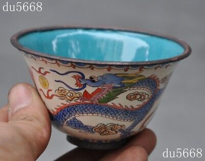 mark old Chinese antique palace dynasty bronze Cloisonne Dragon Phoenix cup bowl