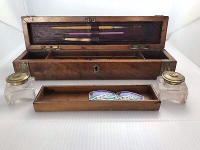 Antique Walnut Cased Travel / Campaign Writing Box Set