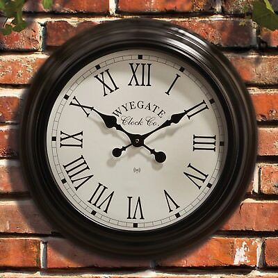 Garden Wall Clock Weather Station Radio Controlled Roman Numerals Indoor/Outdoor