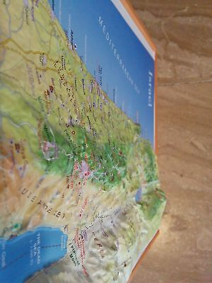 "Raised Relief 3D Map of Israel LARGE: 20"" x 9"" with Sites of Christian Interest"