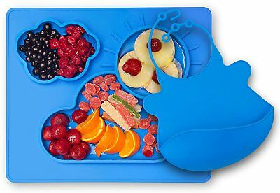 Kenley Feeding Silicone Placemat Suction Plate for Toddlers & Free Matching Bib