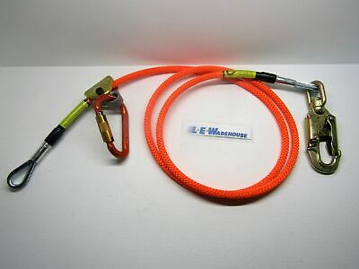 "Climb Right 1/2"" X 8' Wire Core Lanyard Kit W/ Rope Grab Carabiner & Swivel Snap"