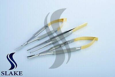 3 Castroviejo Micro Scissors Needle Holder Curved TC Forceps Dental Eye Set Kit