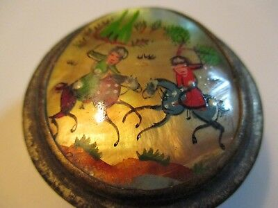Vintage Persian Miniature Hand-painted on Mother-of-Pearl Silver box Mughal