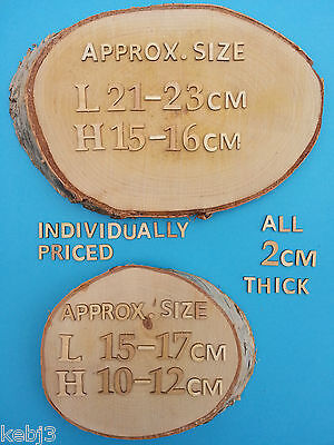Natural WOODEN Rustic SLICES   Choice of Oval and Circles with  Bark surround