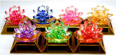 Solar Powered & Battery Rotating Crystal Glass Lotus Flower Ornament- All colour