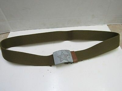 """Vintage Russian Soviet Military Canvas Belt With Buckle 1950's Era Fit 41""""Waist"""