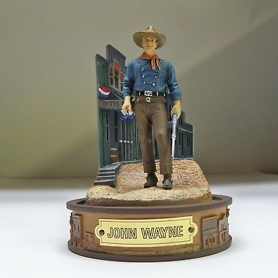 """Franklin Mint John Wayne  """"champion Of The West"""" Hand Painted Figurine With Dome"""