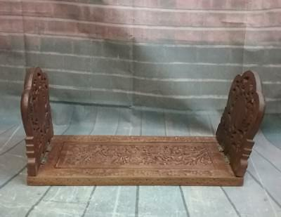 Vintage Hand Carved Wooden Expandable Book Stand Holder Desk Organizer