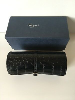 vintage Rapport of London Black Leather Watch roll up pouch case. boxed