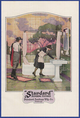 Vintage 1922 STANDARD Plumbing Fixtures Bathroom Maid Art Decor Print Ad 20's