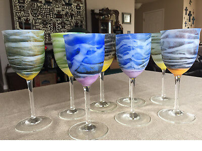 Steven Maslach Signed Vernal Art Glass Set Of 8 Wine Goblets New Unused