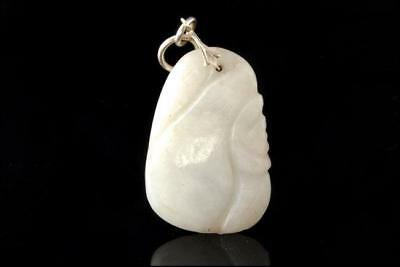 Antique Chinese Carved White Jade Jadeite Silver Pendant D47-08