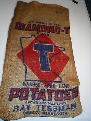 Vintage~Diamond T~Burlap Potatoe Feed Sack Bag~OSSEO MN Minnesota~Farm Decor~50