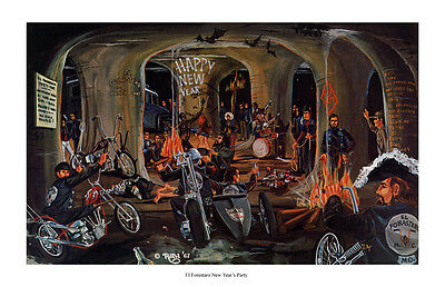 Dave Mann Ed Roth Studios Print Poster El Forestaro Party Motorcycle Chopper