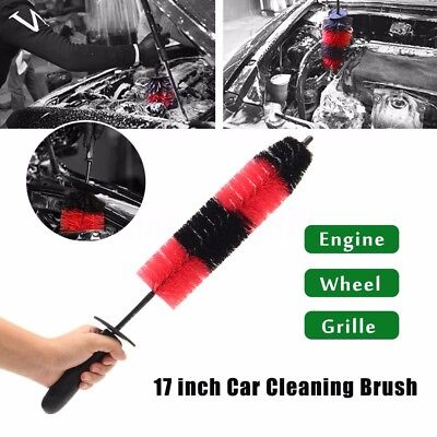 17'' Long Car Wash Brush Engine Grille Wheel Brush Auto Cleaning Detailing Tool