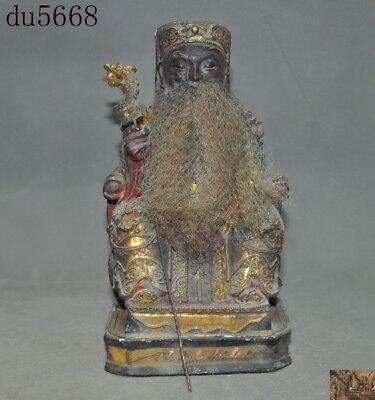 antique Rare Chinese Temple joss Old Wood Carved Mammon Wealth God Buddha Statue