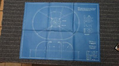 """(CR94) Original 1918 Blueprint Drawing 20"""" x 27"""" - Bracing for top of Crows Nest"""