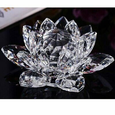 Large Clear Crystal Lotus Flower Ornament With Gift Box  Crystocraft Home Decor