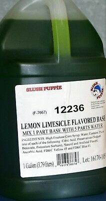 Slush Puppie Lemon Lime Flavored Base2/1 Gallon Case (Makes 12 Finished Gallons)