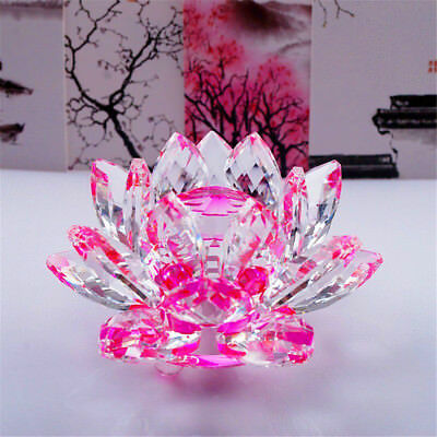 Large Pink Crystal Lotus Flower Ornament With Gift Box  Crystocraft Home Decoruk