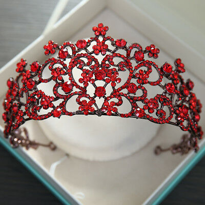 Baroque Wedding Bridal Red Crystal Queen Headband Crown Tiaras Pageant Prom Gift