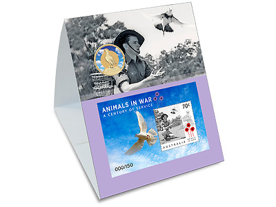 2016 Animals in War stamp imperf minisheet and coin set pigeon Ltd Edt of 150