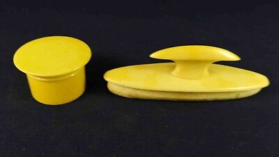 Vintage Ivorine Celluloid Nail Buffer & Small Pot