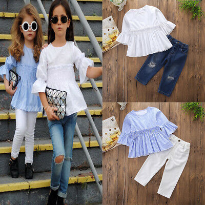 Toddler Kids Baby Girls T-shirt Tops Dress+Pants Jeans Outfits Clothes 2PCS Set