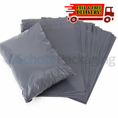 "50 STRONG POLY MAILING BAGS - 10"" x 14"" POSTAGE POSTAL QUALITY SELF SEAL GREY"