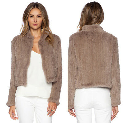 100% Genuine Fashion Women Real Knitted Rabbit Fur Jacket Short Casual Outerwear