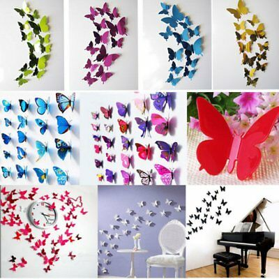 12 Pcs 3D Butterfly Wall Stickers Art Decal Home Room Decorations Decor  Kids New