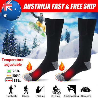 Electric Rechargeable Battery Warm Heated Skiing Sport Cold Feet Thermal Socks