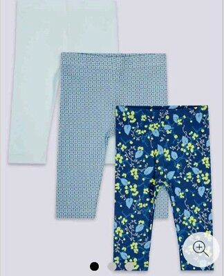 3 Pack Baby Girls Leggings New M&s Cotton With Stretch Blue Mix 3-6, 6-9 Months