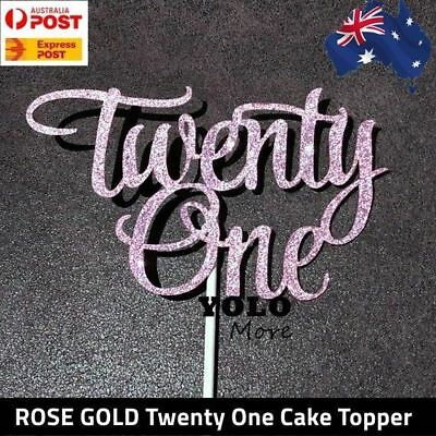 21st Twenty One ROSE GOLD Glitter Cake Topper Happy Birthday Cake AUS