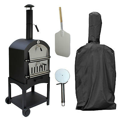 Outdoor Pizza Oven Portable Bbq Stone Base Temperature Gauge Steel Box Gas Grill Barbecues, Grills & Smokers