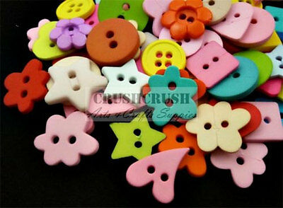 30 x 15mm Mixed Wooden Buttons #914