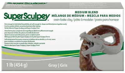 Super Sculpey Gray Medium Blend 1lb - BEST PRICE FRESH  - Polymer Polyform clay