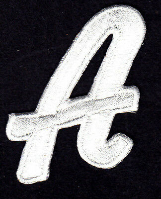 """LETTERS  - White Script  2"""" Letter """"A"""" - Iron On Embroidered Applique"""