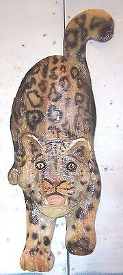 Chainsaw Carving Snow Leopard Carved Cougar Panther Jaguar Home Decor Wall Art