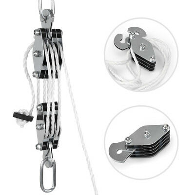 Pulley Block with 66FT Powerful Nylon Rope Lifting Heavy Loads