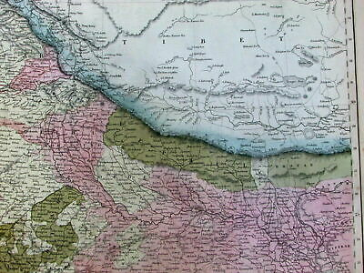 India Punjab Tibet Ceylon Bangladesh Singapore cities roads 1853 S. Hall old map